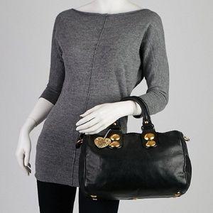 Gucci Black Leather Babouska Boston Bag